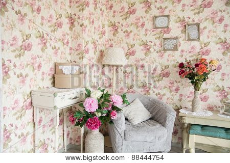 Interior Room With Chairs, Pillowsand Flowers