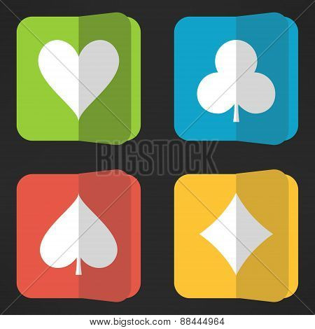 Bright playing cards suits icons set in clean simple design. Rectangular vivid card symbols with rou