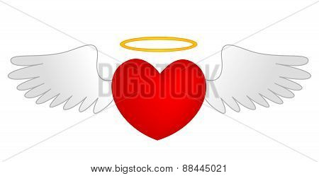 Heart With Angle Wings And Gold Halo