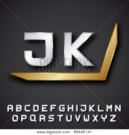 EPS10 vector silver golden alphabet initials