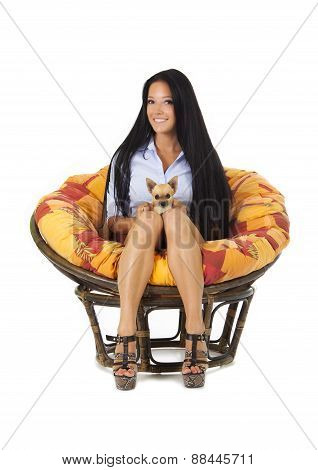 Beautiful Young Girl With Chihuahua Puppy