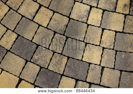 Tiled Pavement Background. Circle Paving.