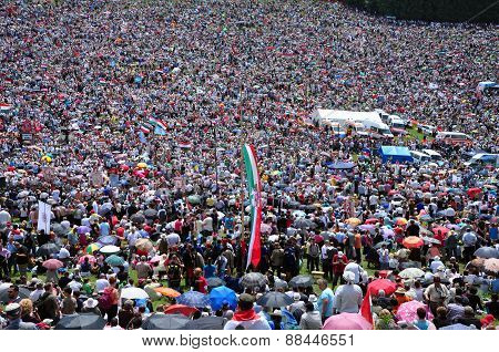 Crowd Of Catholic Pilgrims Gathering To Celebrate The Pentecost