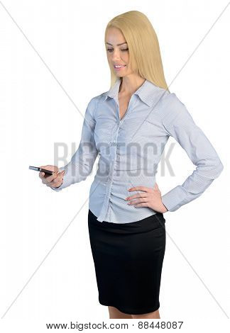 Isolated business woman call phone