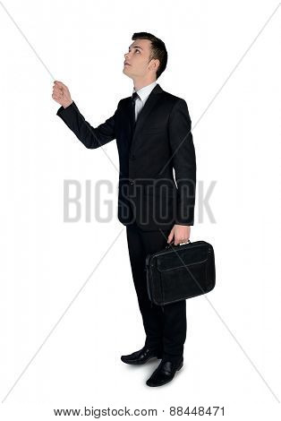 Isolated business man drag something