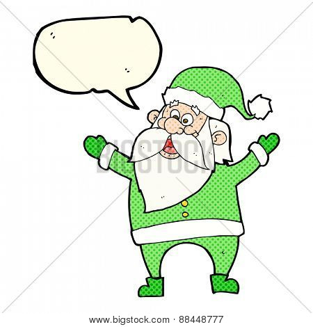 cartoon santa claus with speech bubble