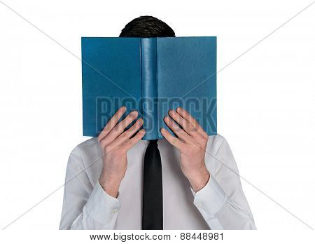 Isolated business man hide reading book