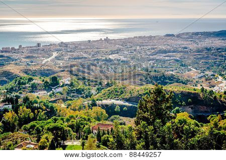 View From The Mijas Village To Fuengirola Town. Andalusia,  Costa Del Sol. Spain