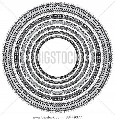 set of grey round geometrical frames, circle border ornament