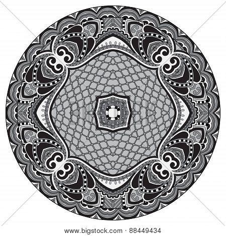Circle lace ornament, round grey ornamental geometric doily patt