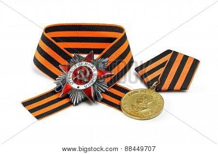 Soviet Military Medal, Order, George Ribbon Isolated On White Background