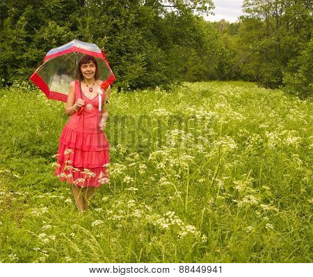 Young Woman With Red Rose And Umbrella