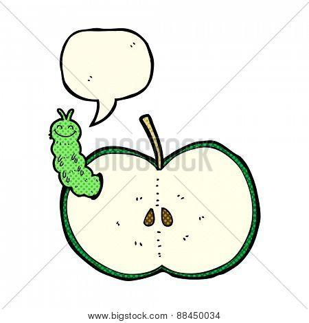 cartoon bug eating apple with speech bubble