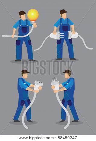 Funny Electrician Vector Character Illustration