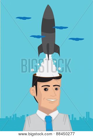 Man With Great Dreams Vector Illustration
