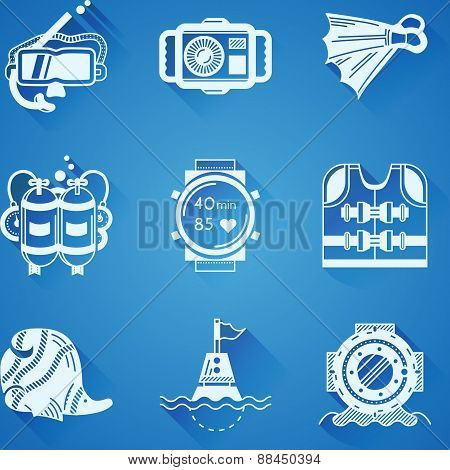 White icons vector collection of diving