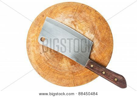 Knife On A Wooden Butcher On White Background