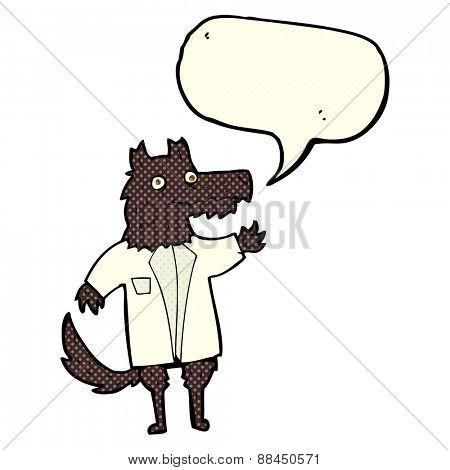 cartoon wolf businessman with speech bubble