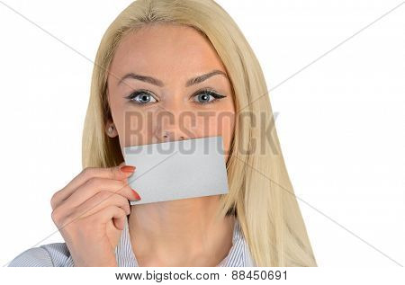 Isolated business woman cover lips with card