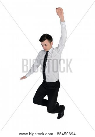 Isolated business man fall position