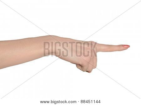 Woman hand pointing side closeup