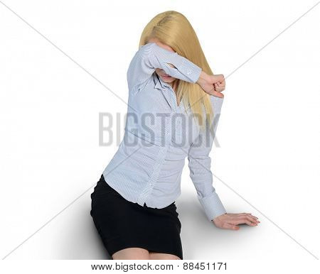 Isolated scared woman cover face
