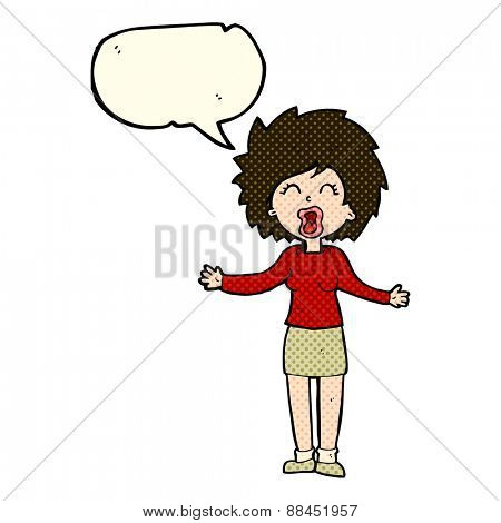 cartoon loud woman with speech bubble