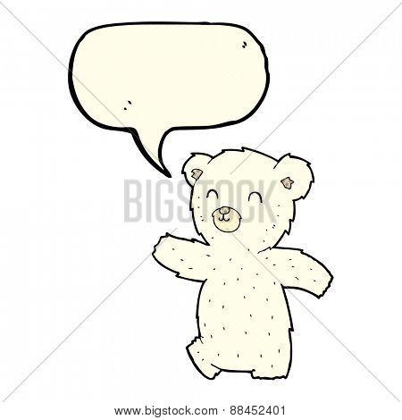 cute cartoon polar bear with speech bubble