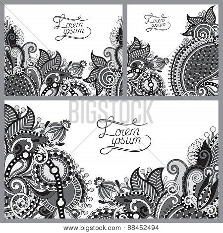 set of grey floral decorative background, template frame design