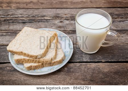 Whole Grain Bread Wooden Background
