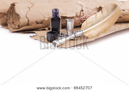 vintage quill Ink On A White Background