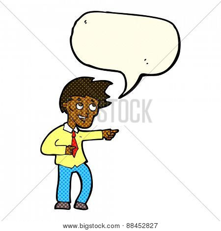 cartoon funny office man pointing with speech bubble