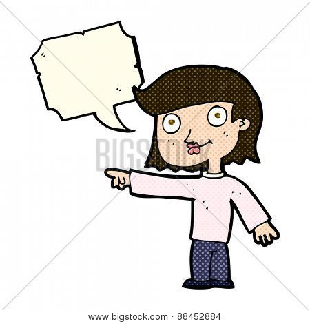 cartoon pointing person with speech bubble