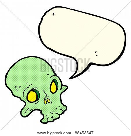 cartoon spooky skull with speech bubble