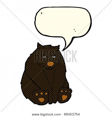 cartoon unhappy black bear with speech bubble