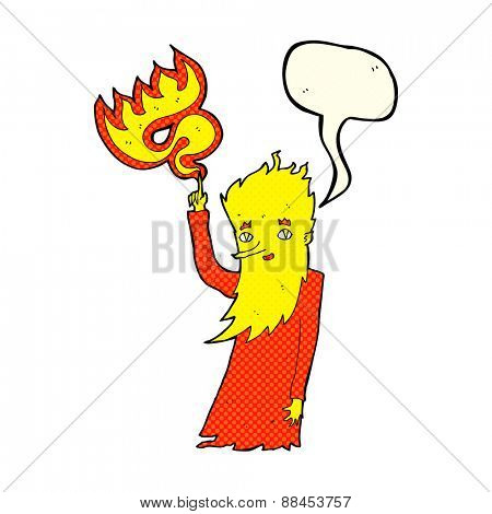cartoon fire spirit with speech bubble