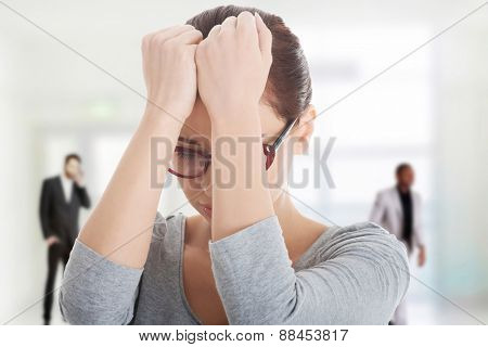Beautiful worried woman in eye glasses.