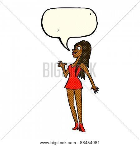 cartoon woman wearing party dress