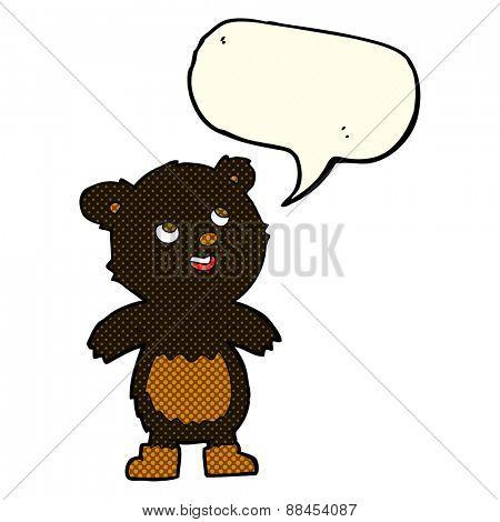 cartoon black bear with speech bubble