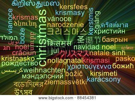 Background concept wordcloud multilanguage international many language illustration of Christmas glowing light