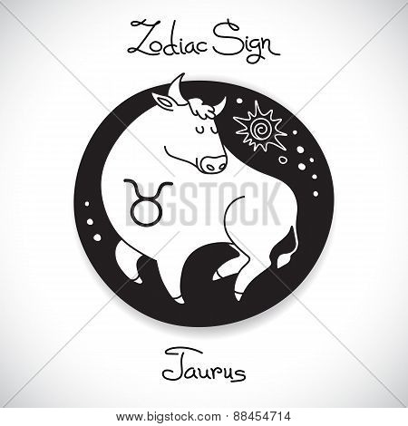Taurus zodiac sign of horoscope circle emblem in cartoon style.