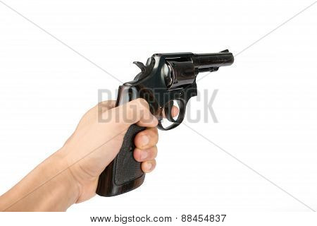 Men's Hand With A Black Revolver Gun Isolated On White Background
