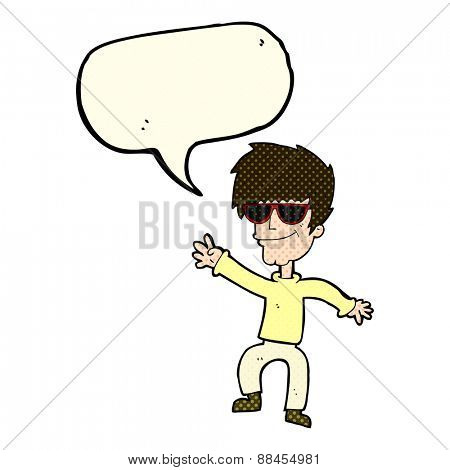 cartoon waving cool guy with speech bubble