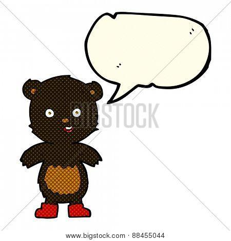 cartoon happy teddy bear in boots with speech bubble