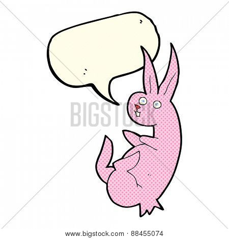 cue cartoon rabbit with speech bubble
