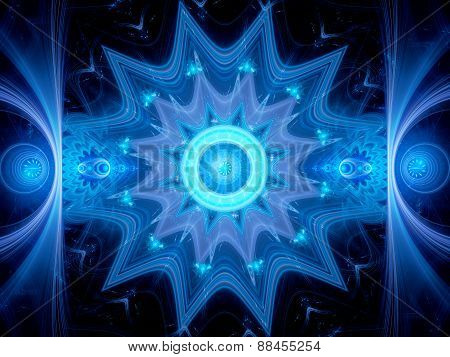 Magical Blue Glowing Mandala In Space