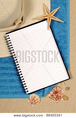 Beach Scene With Blank Book
