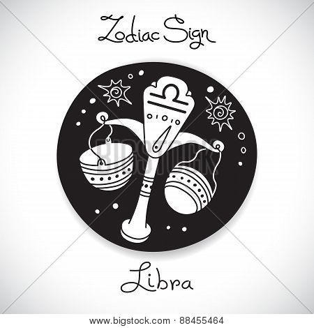 Libra zodiac sign of horoscope circle emblem in cartoon style.