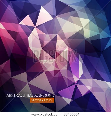 vector abstract background of triangles in purple and blue tones