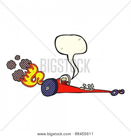 cartoon drag racer with speech bubble